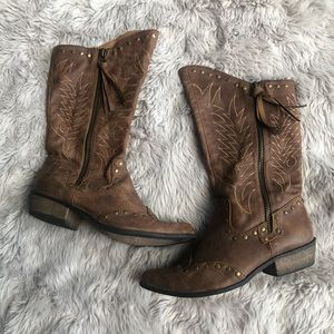 Coconuts Brown Cowboy Boots with Zippers